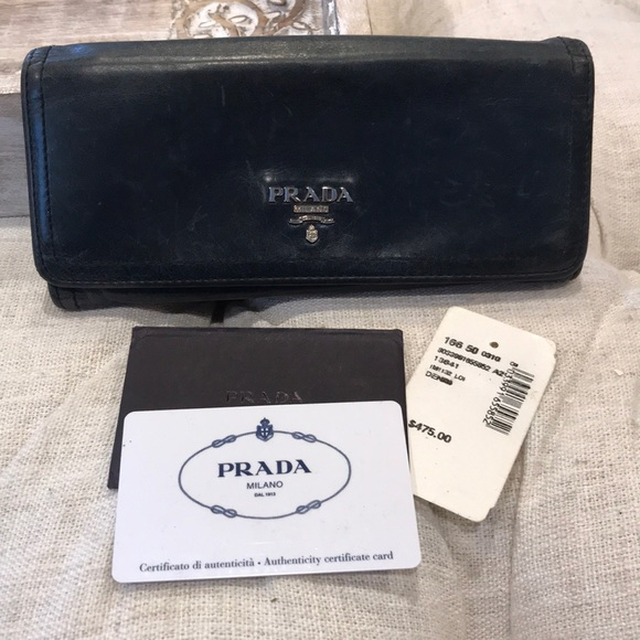 f8415ad0a6c1f2 Prada Bags | Vitelli Shine Navy Leather Wallet Clutch | Poshmark